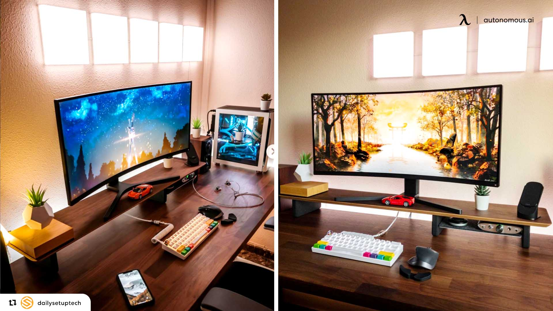Curved monitors are more immersive.