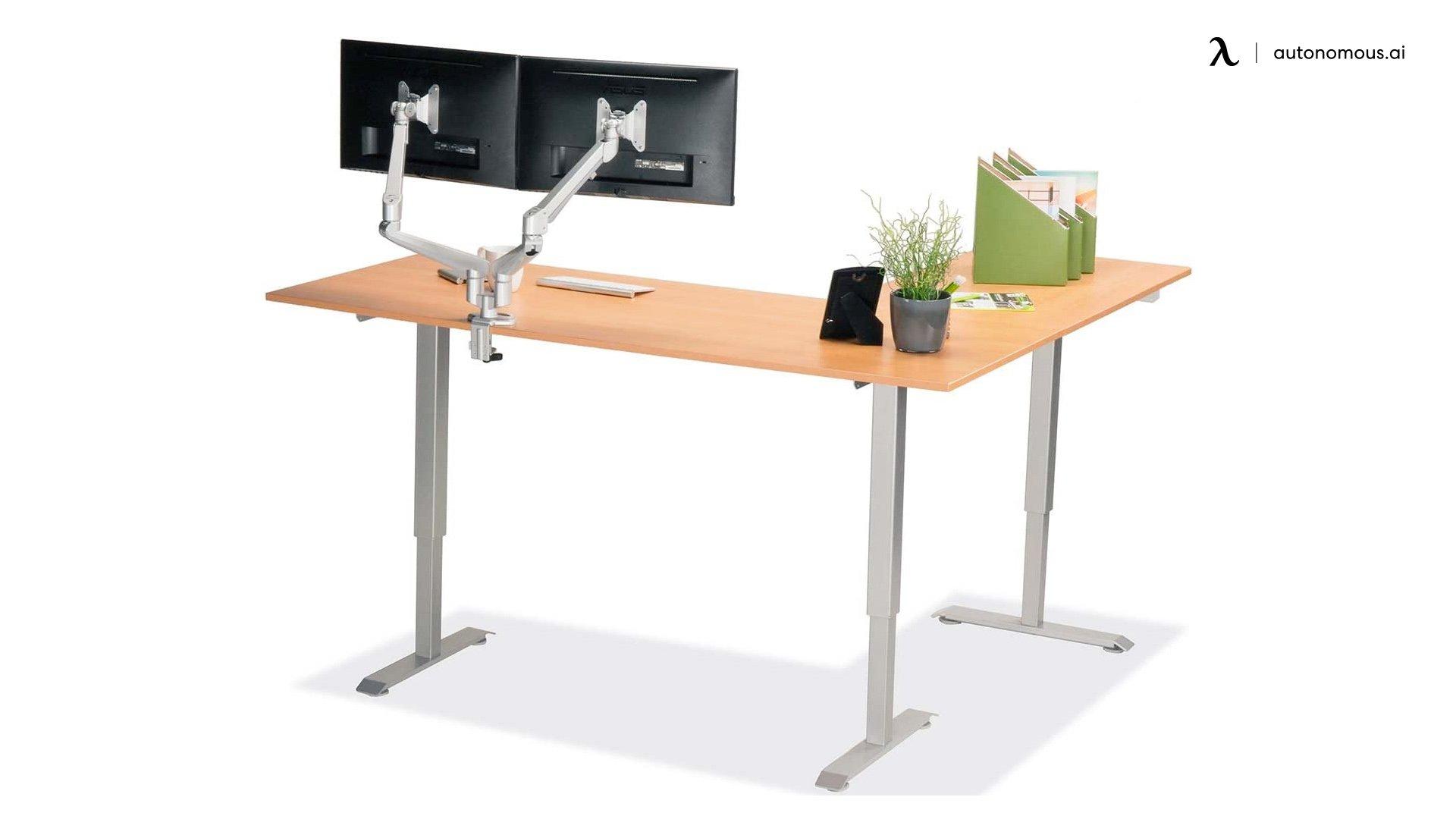 Configurations de bureau d'angle debout en forme de L MultiTable