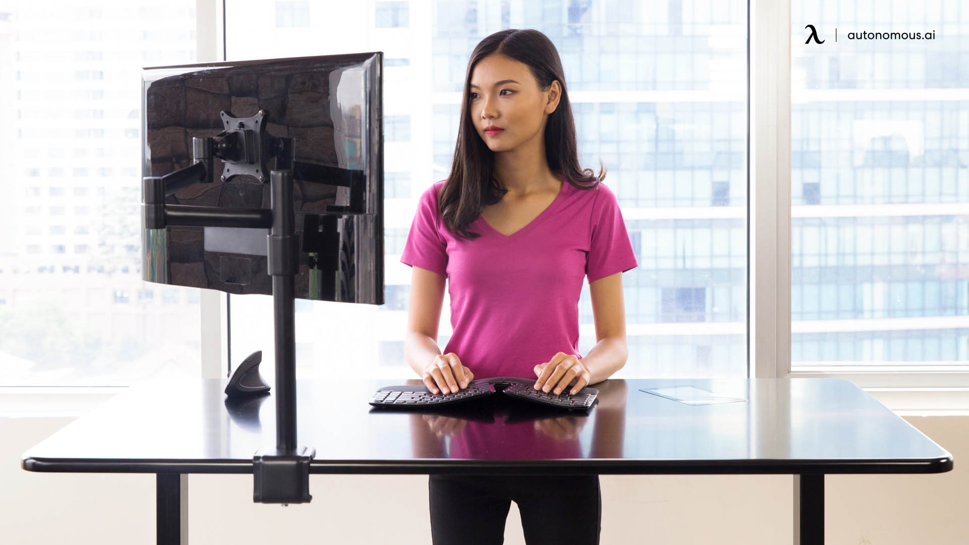 Be sure to keep these straight and aligned parallel to the surface of your standing desk