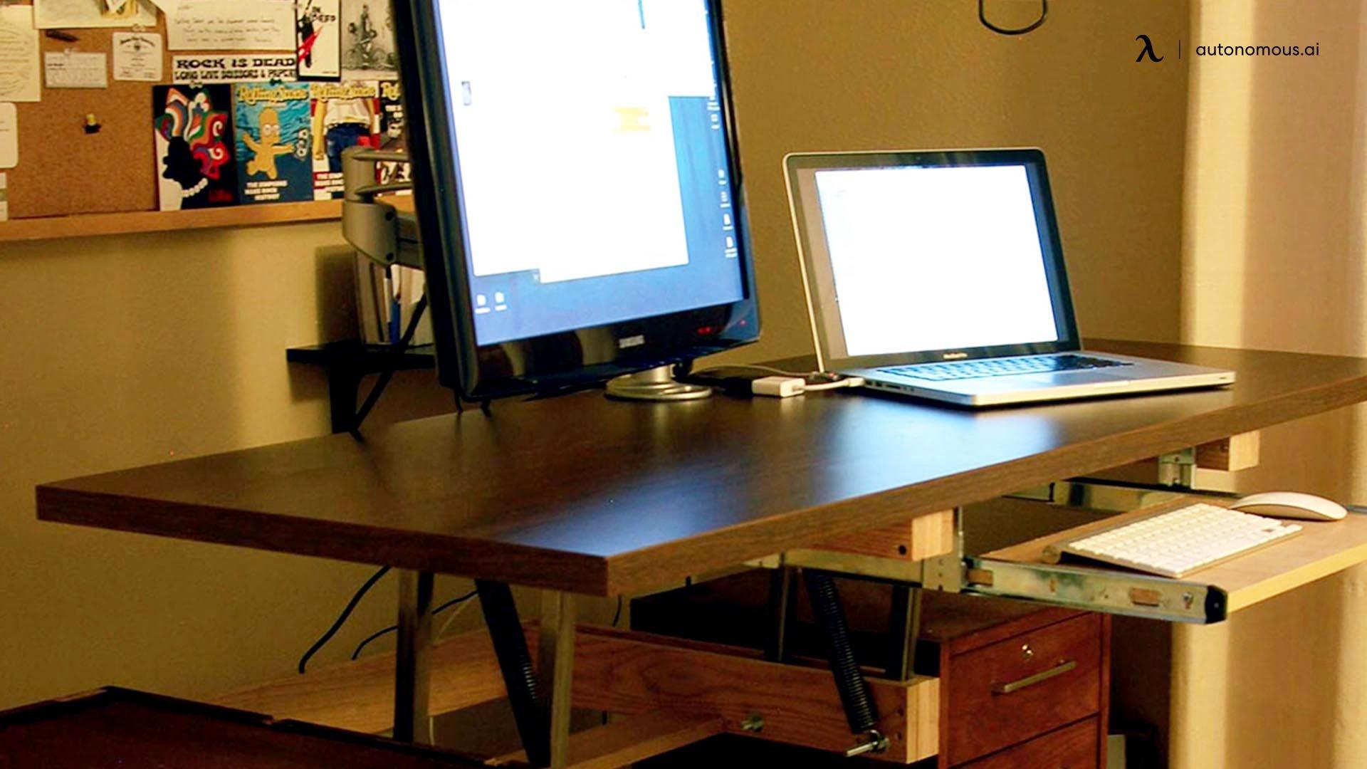 Counterweight convertible standing desk idea