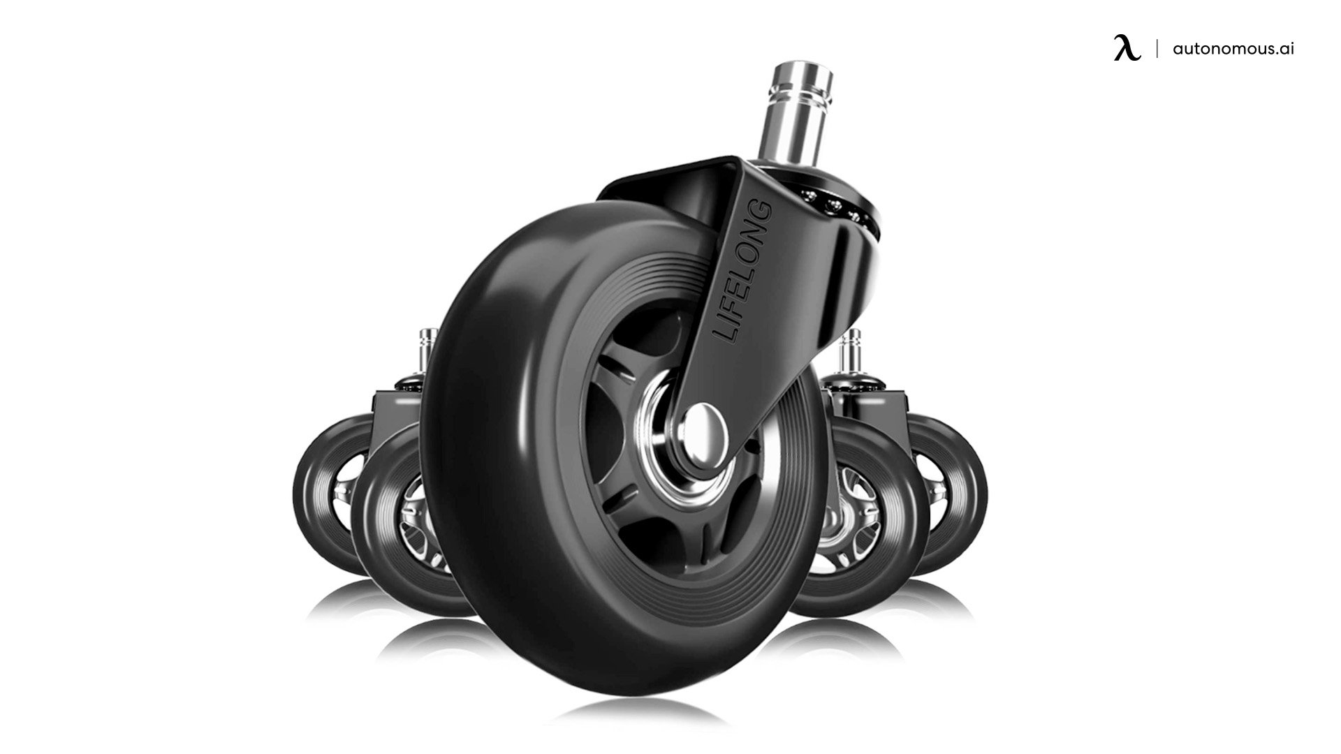 Black Replacement Rubber Chair Casters by Lifelong