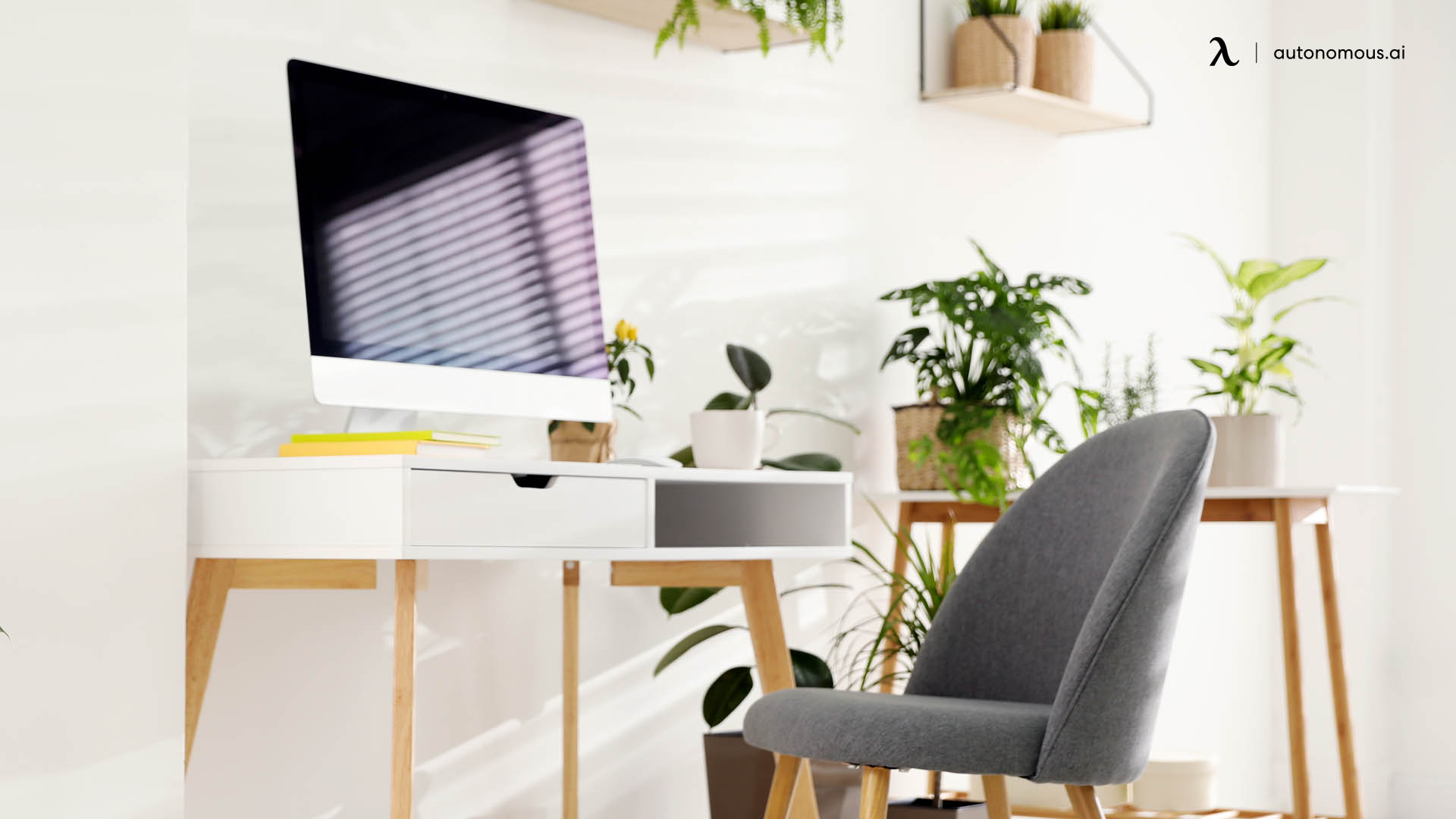 new year home office refresh with plants