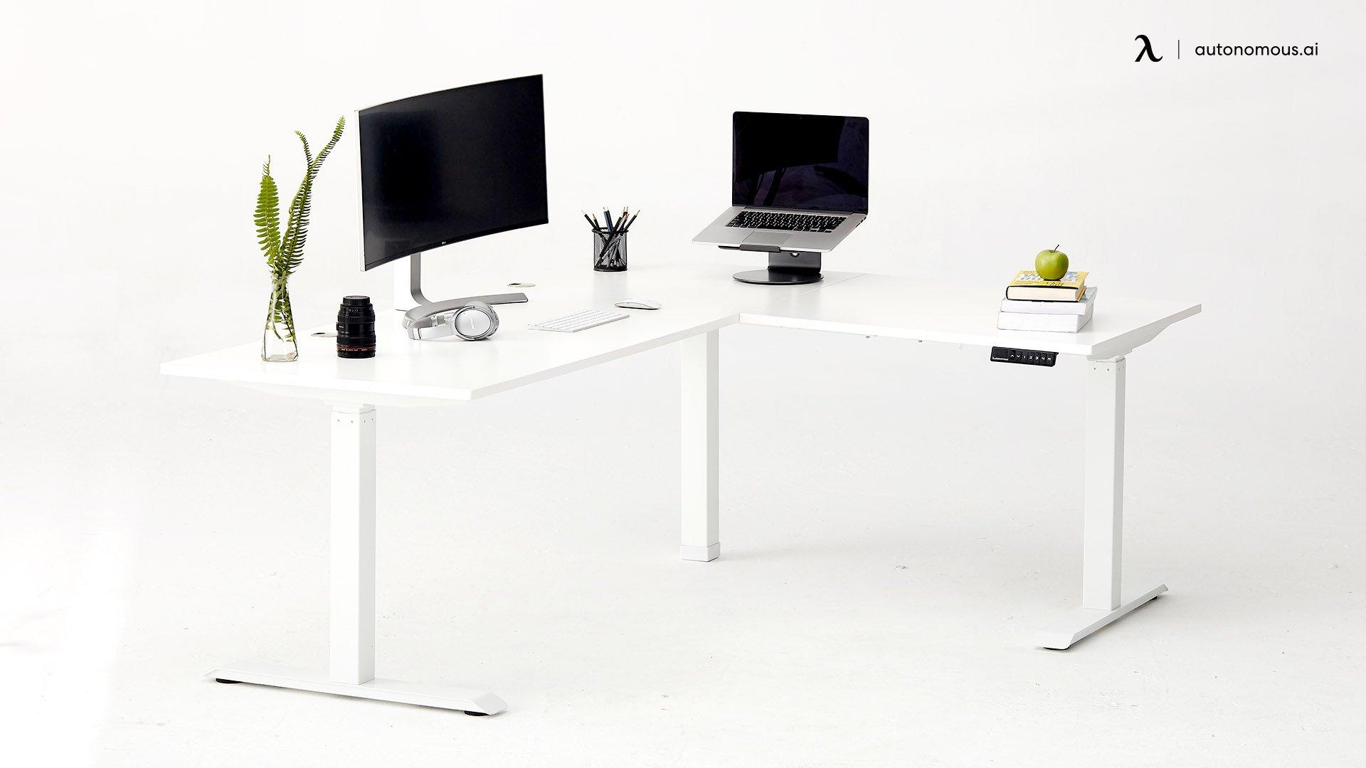 White L-Shaped Standing Desk Autonomous