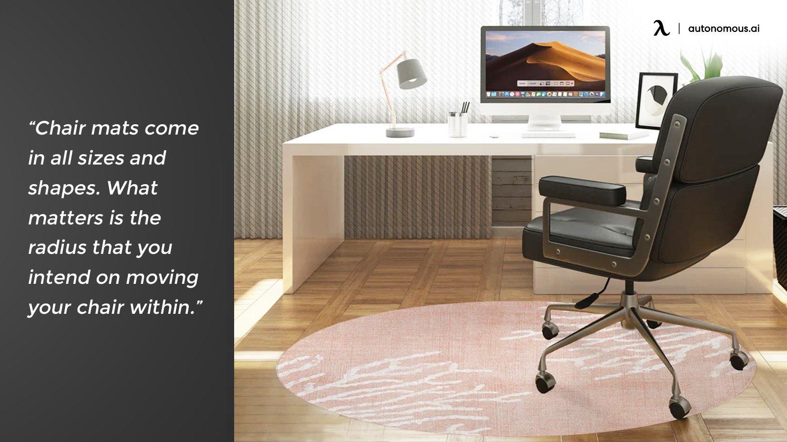 Chair mat sizing