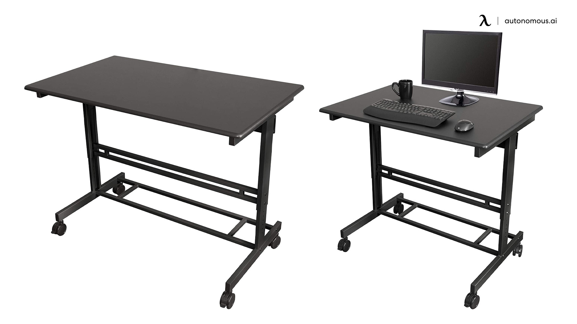 S Stand Up Desk Mobile Fixed-height Two-tier Desk