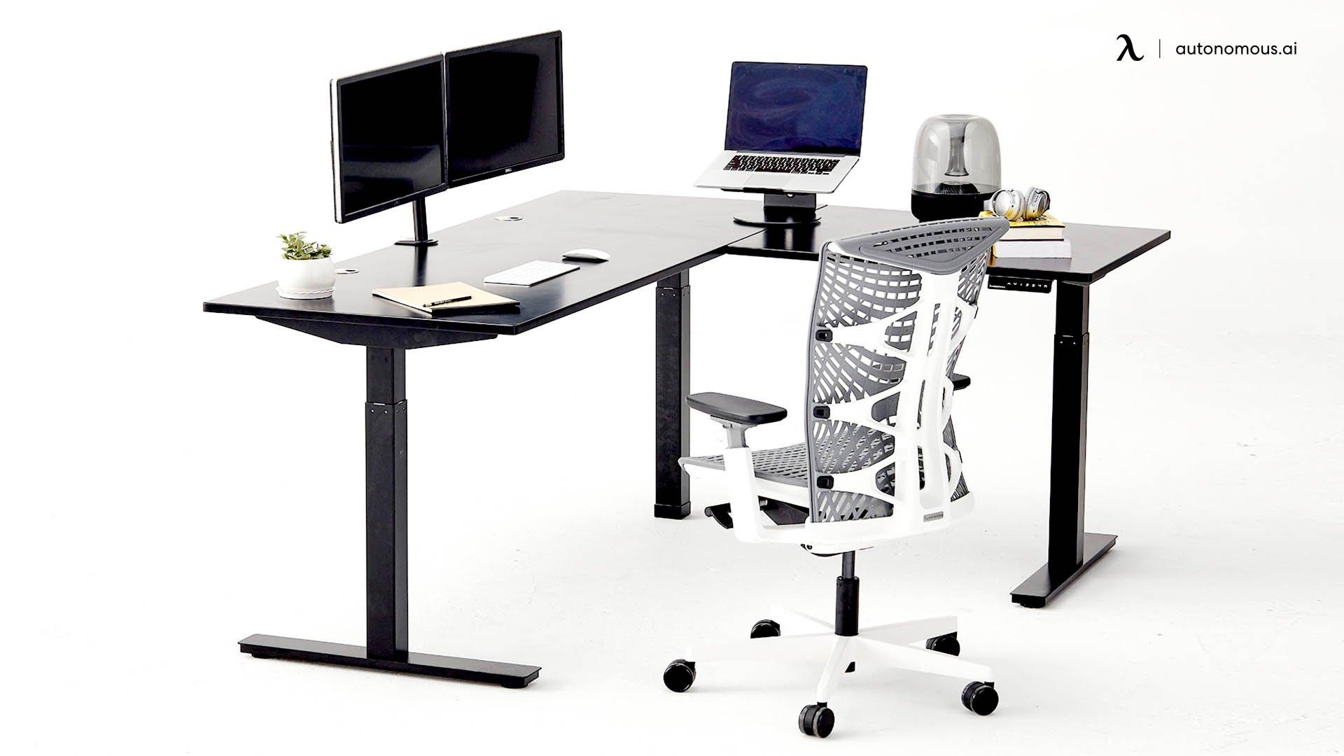 Black L-Shaped Standing Desk