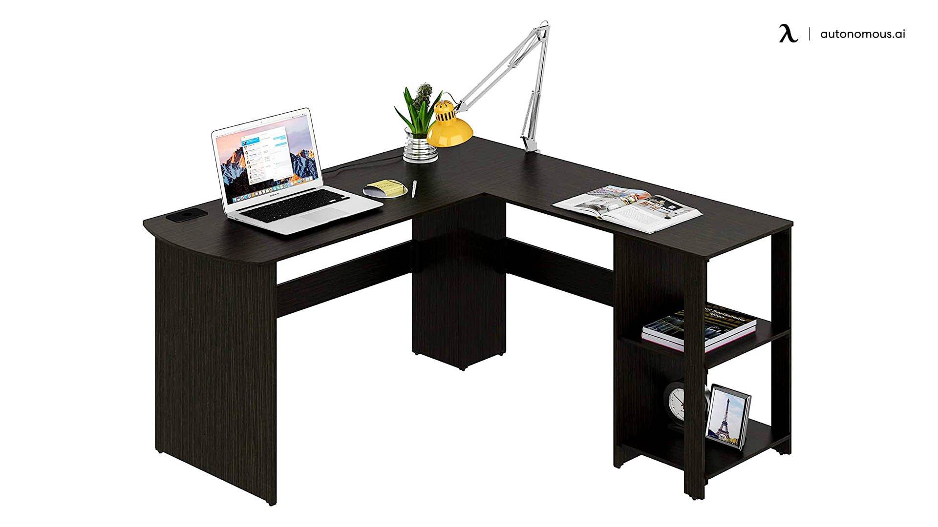 L-Shaped Home Office Wood Corner Desk, Espresso