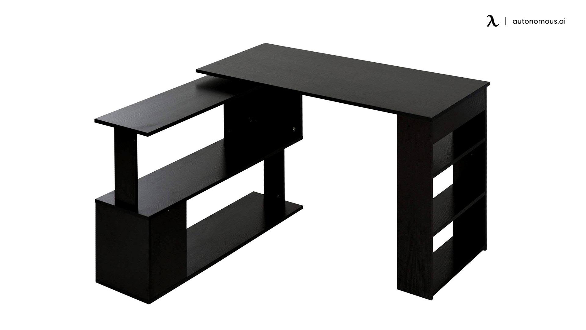 L Shaped Rotating Computer Desk with Shelves