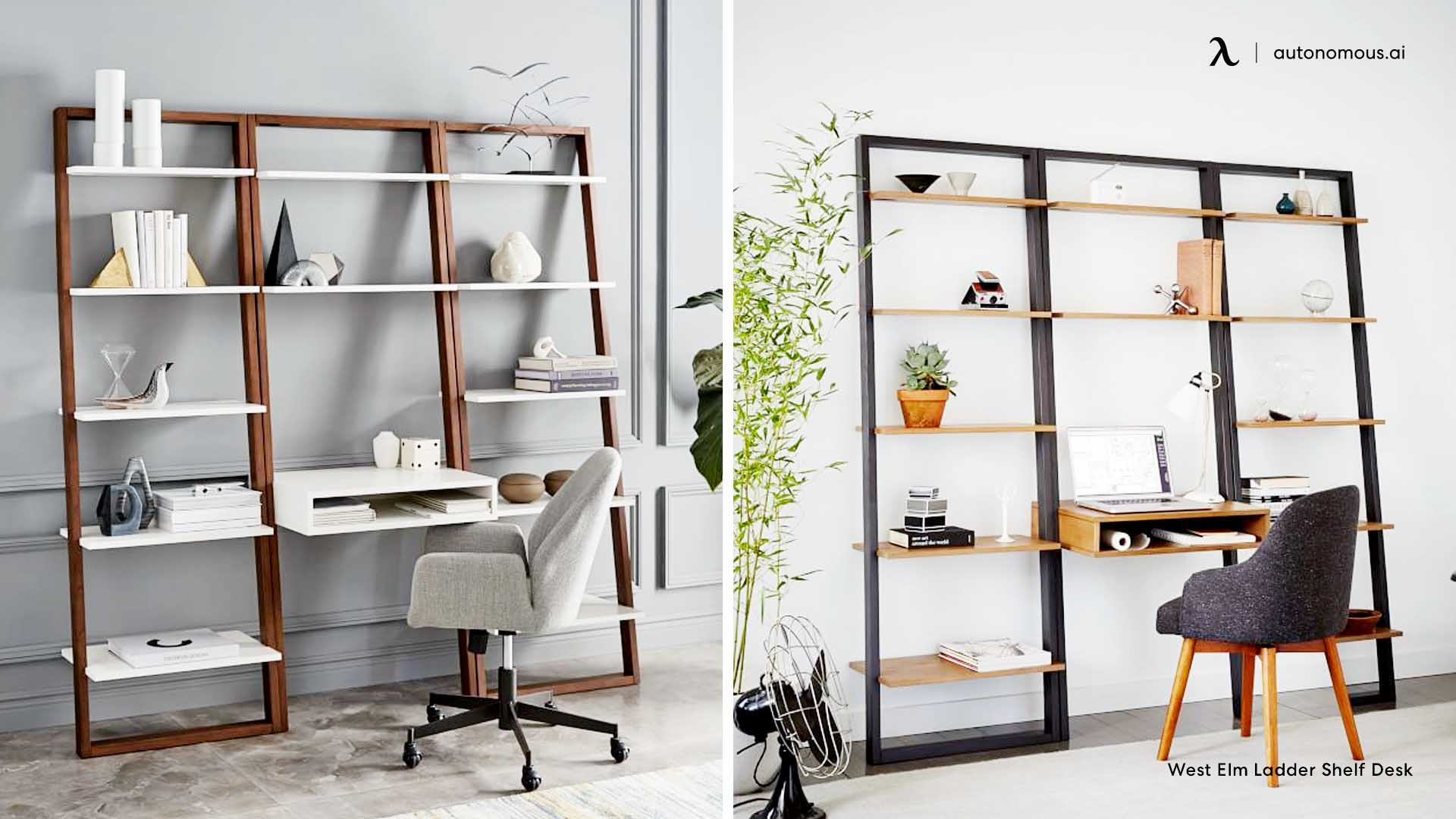 A small desk with an integrated bookshelf