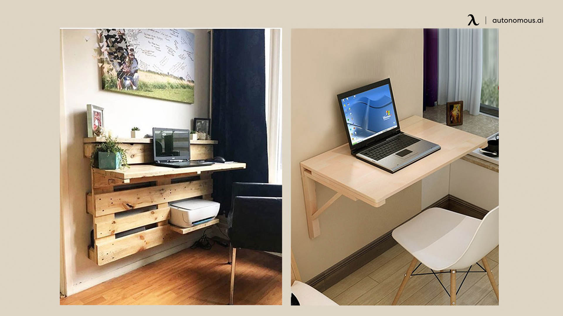 Wooden Pallet Wall Desk