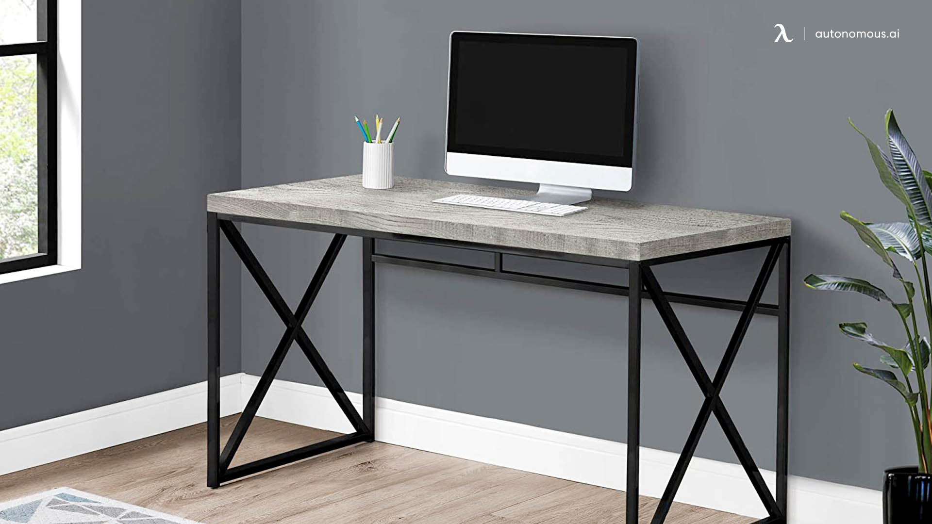 Monarch Specialties Modern Industrial Style Desk