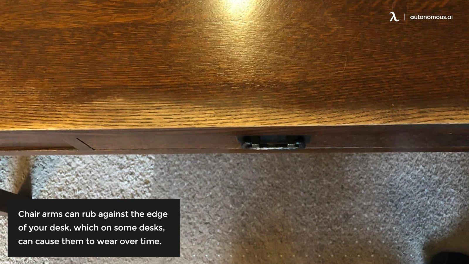 Desk wear on edge