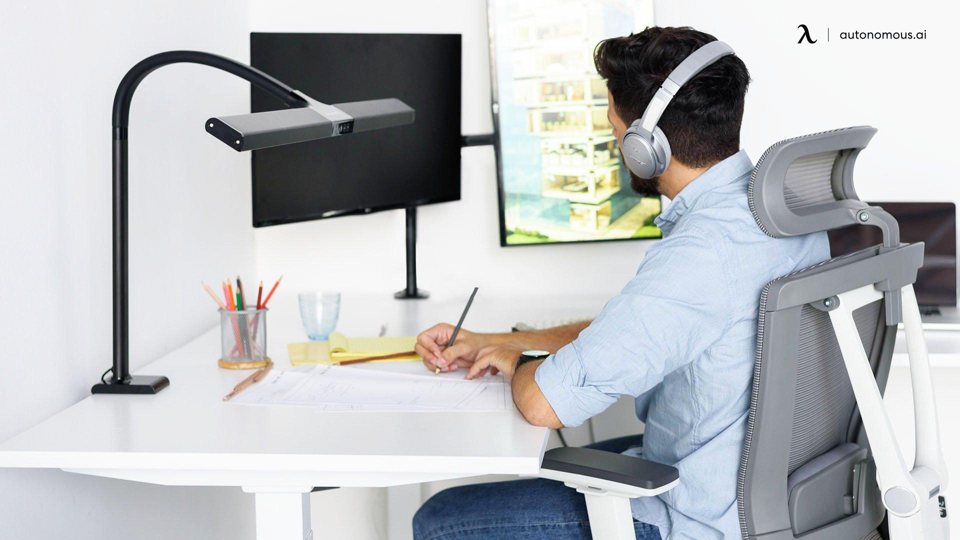 Compact Computer Desk in Bedroom