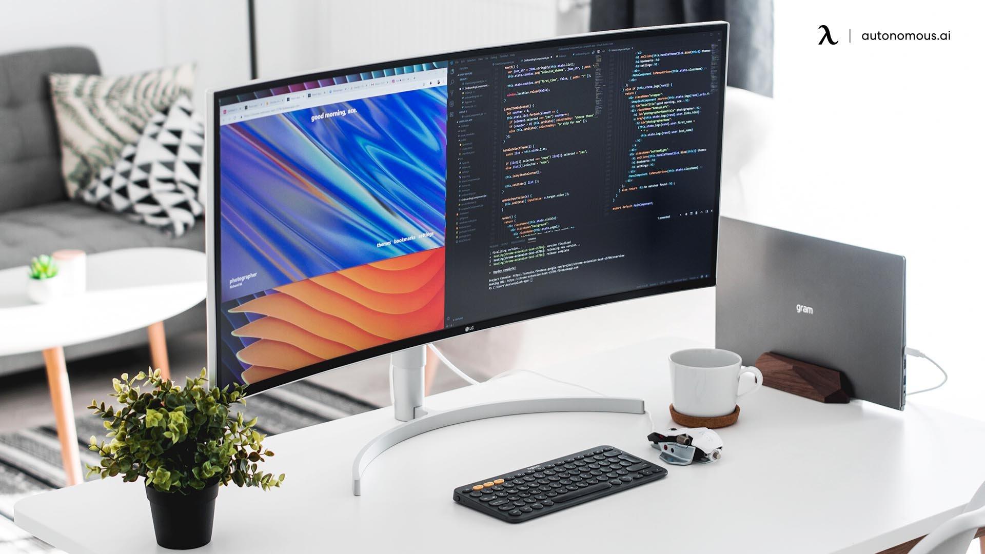 The Ultrawide White Desk Workstation