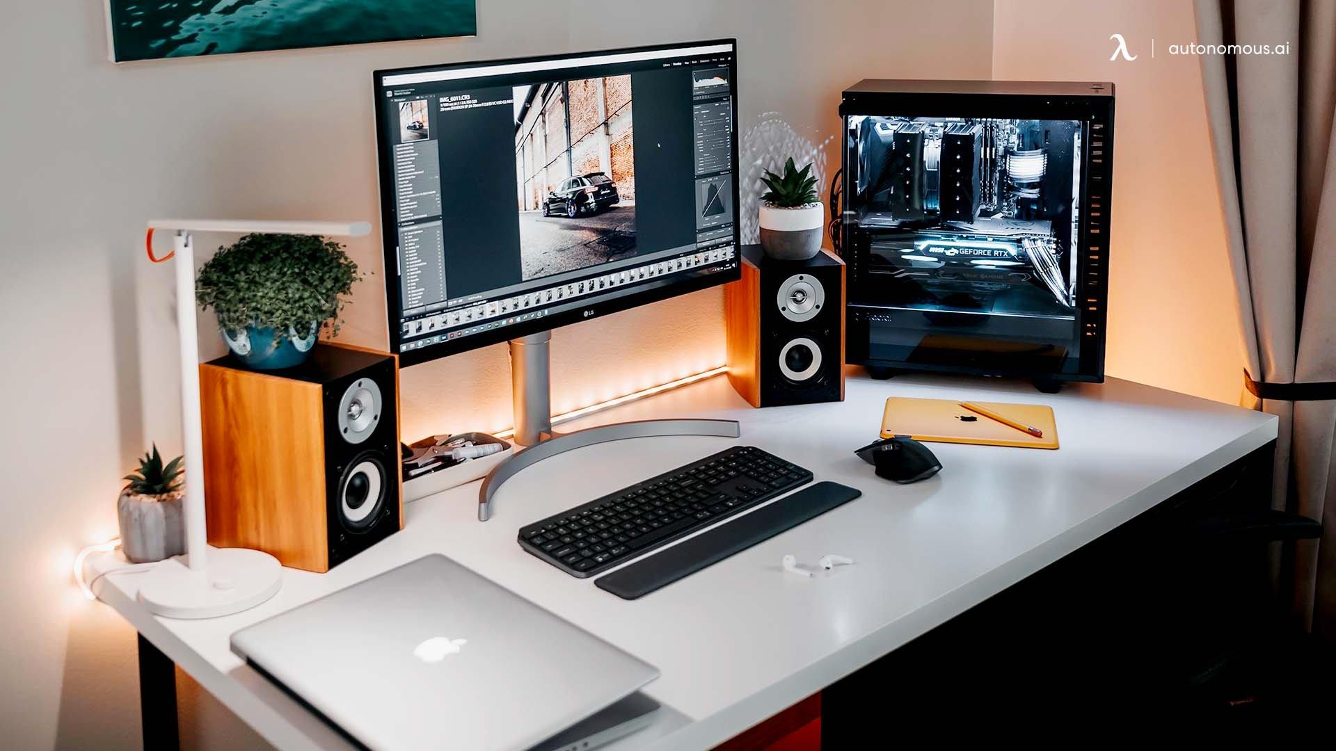 The Youtuber and Filmmaker White Desk Setup