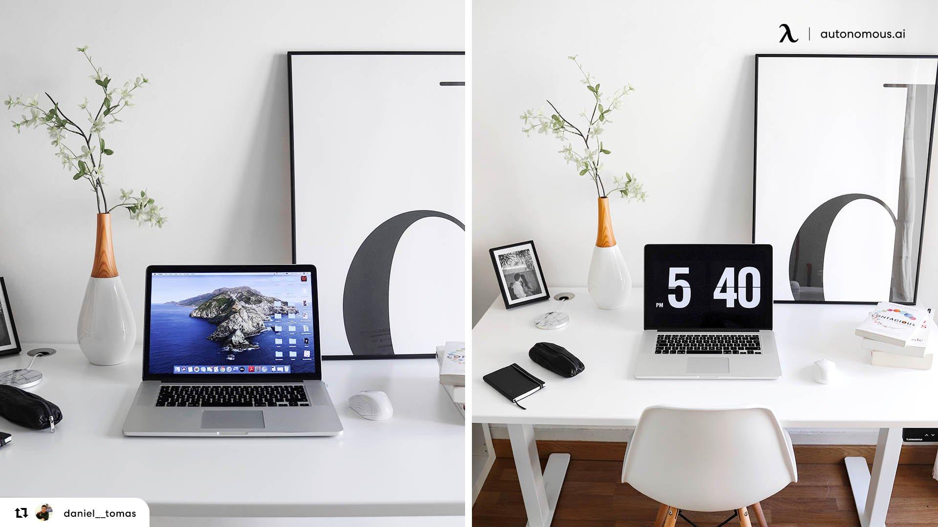 Aesthetic All White Minimalist Setup
