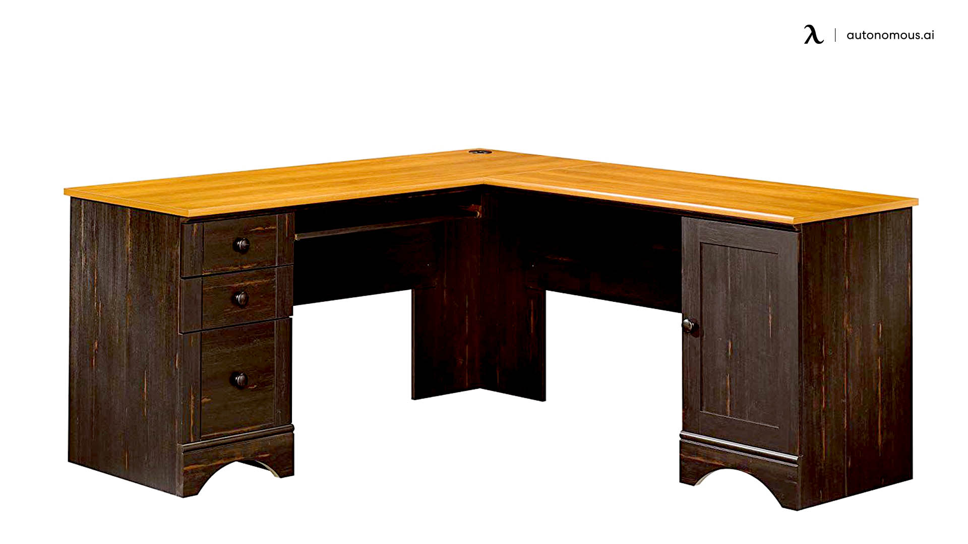 Single Person Corner Desk with Drawers