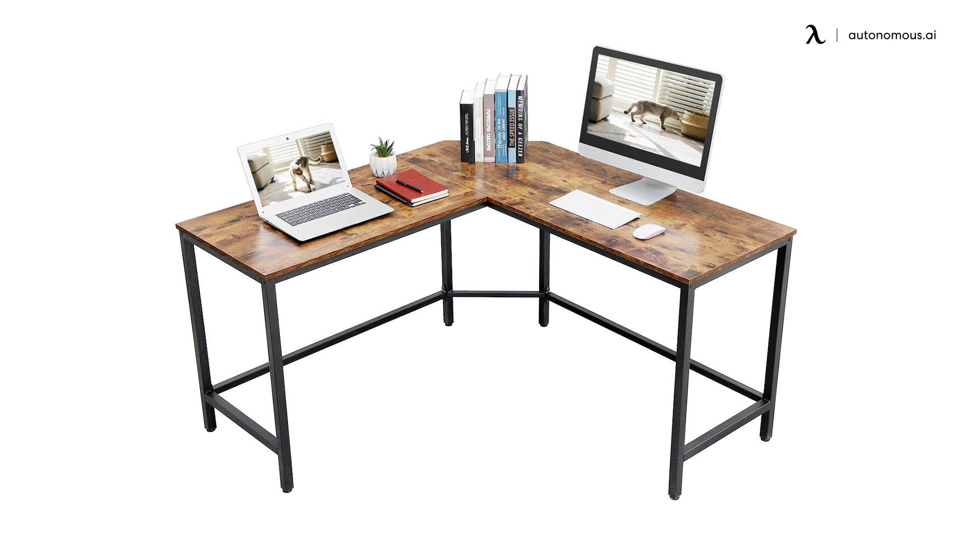 Metal and Wood Combo DIY Corner Office Desk