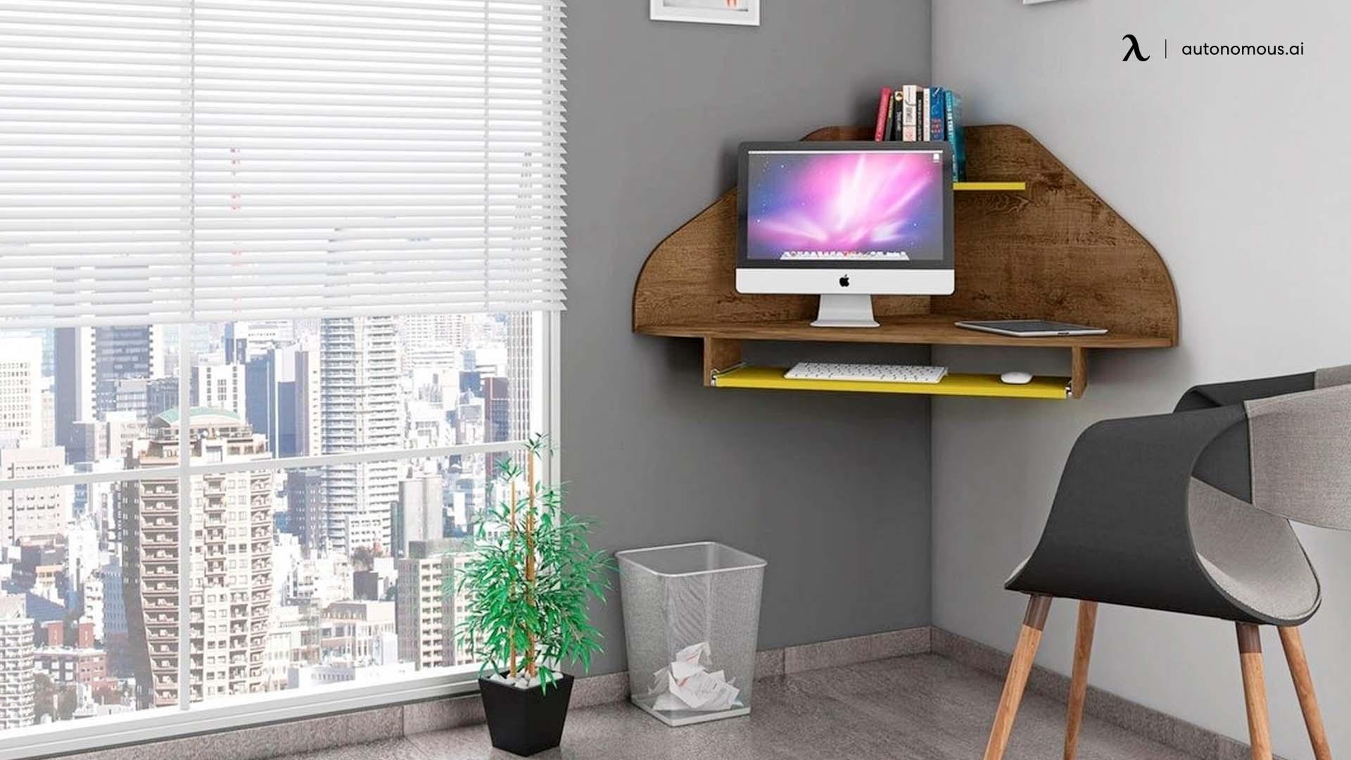 Floating Corner Desk with Shelves