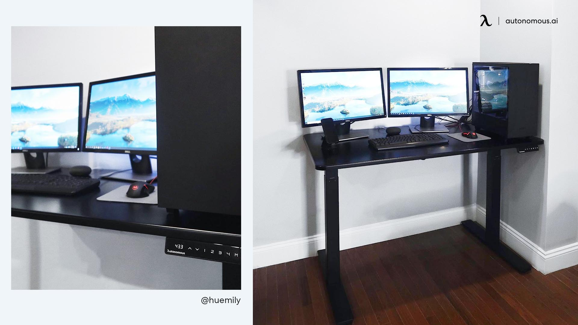 Compact Black Desk Setup