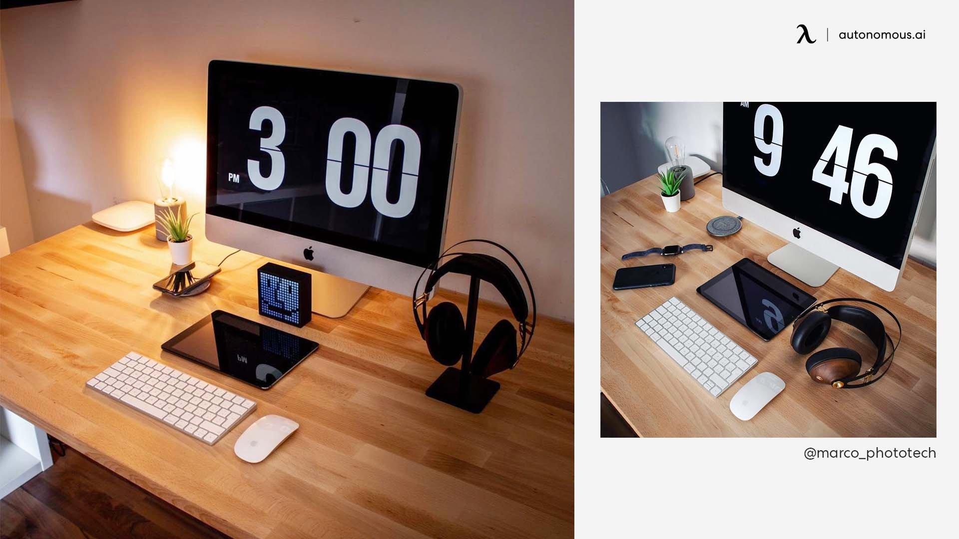 Warm Wood Black Desk Setup