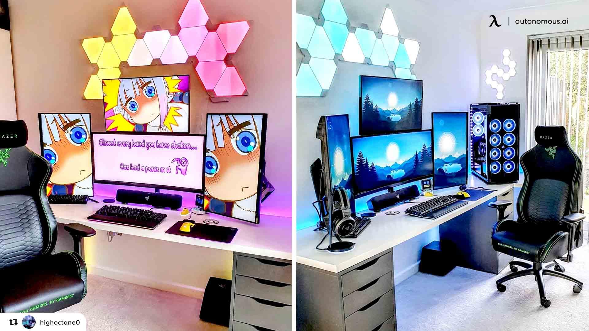 white desk setup