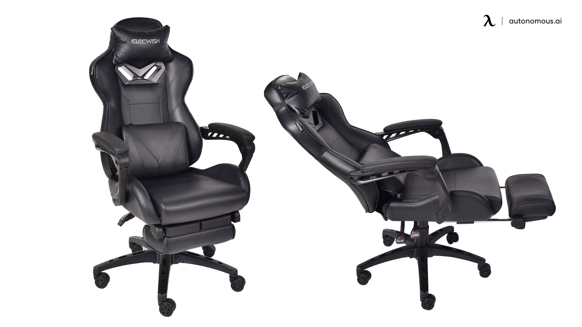 PULUOMIS Reclining Ergonomic Home Office Chair with footrest