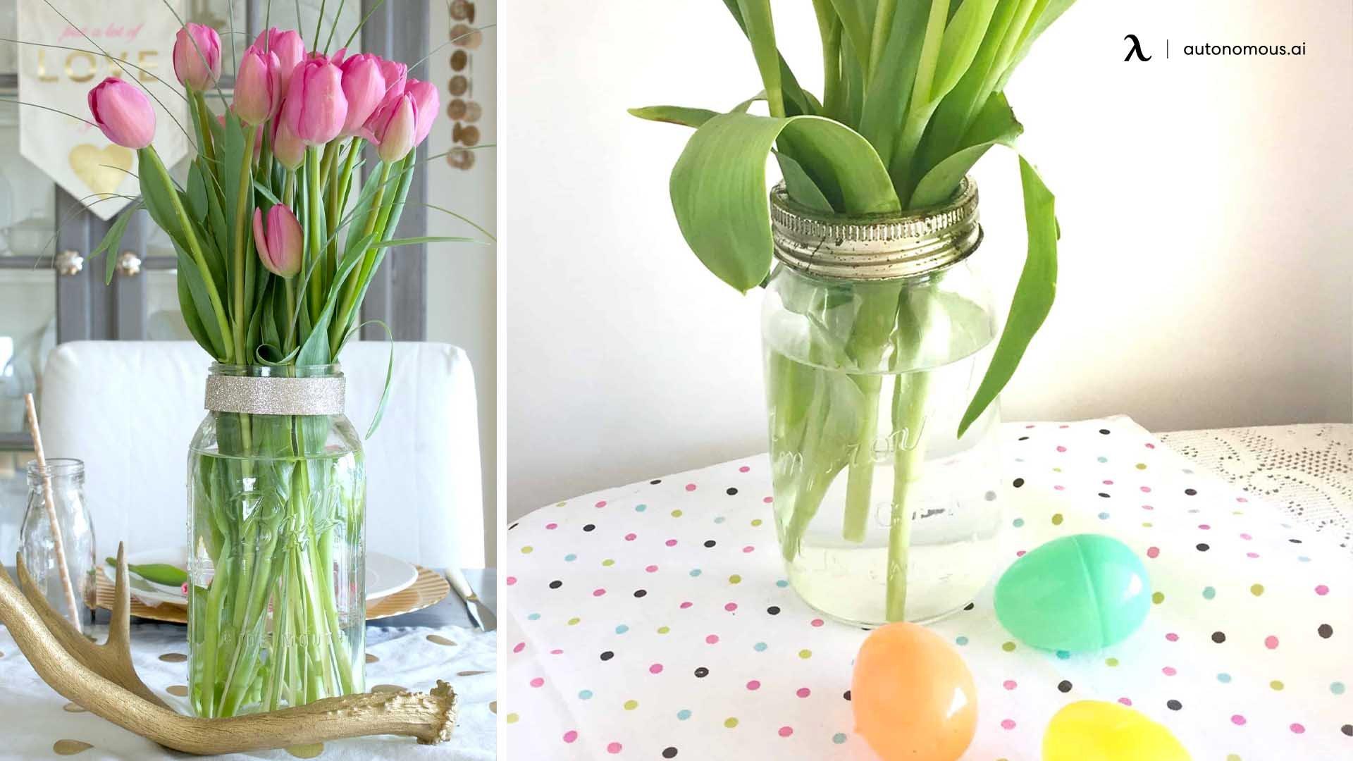 Mason Jar with Tulips