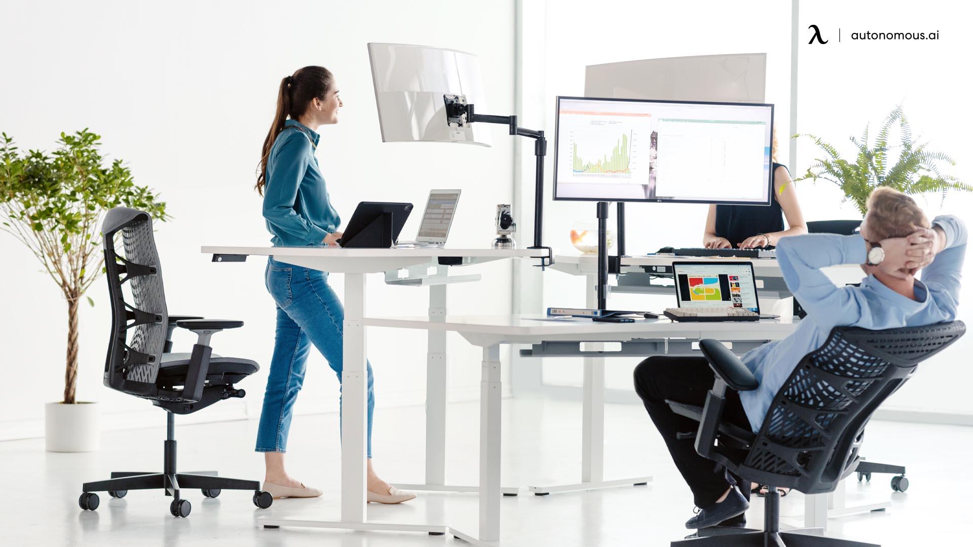using standing desks