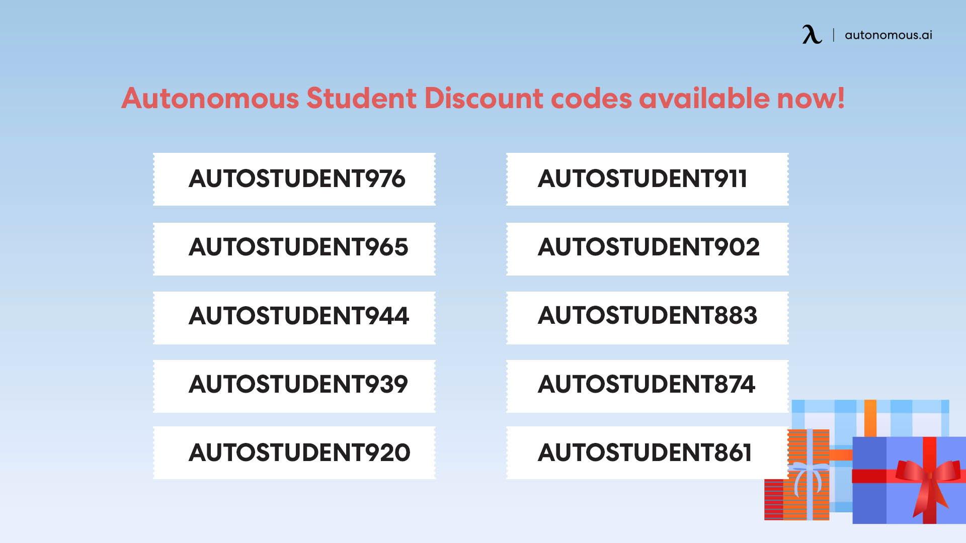 Autonomous Student Discount codes