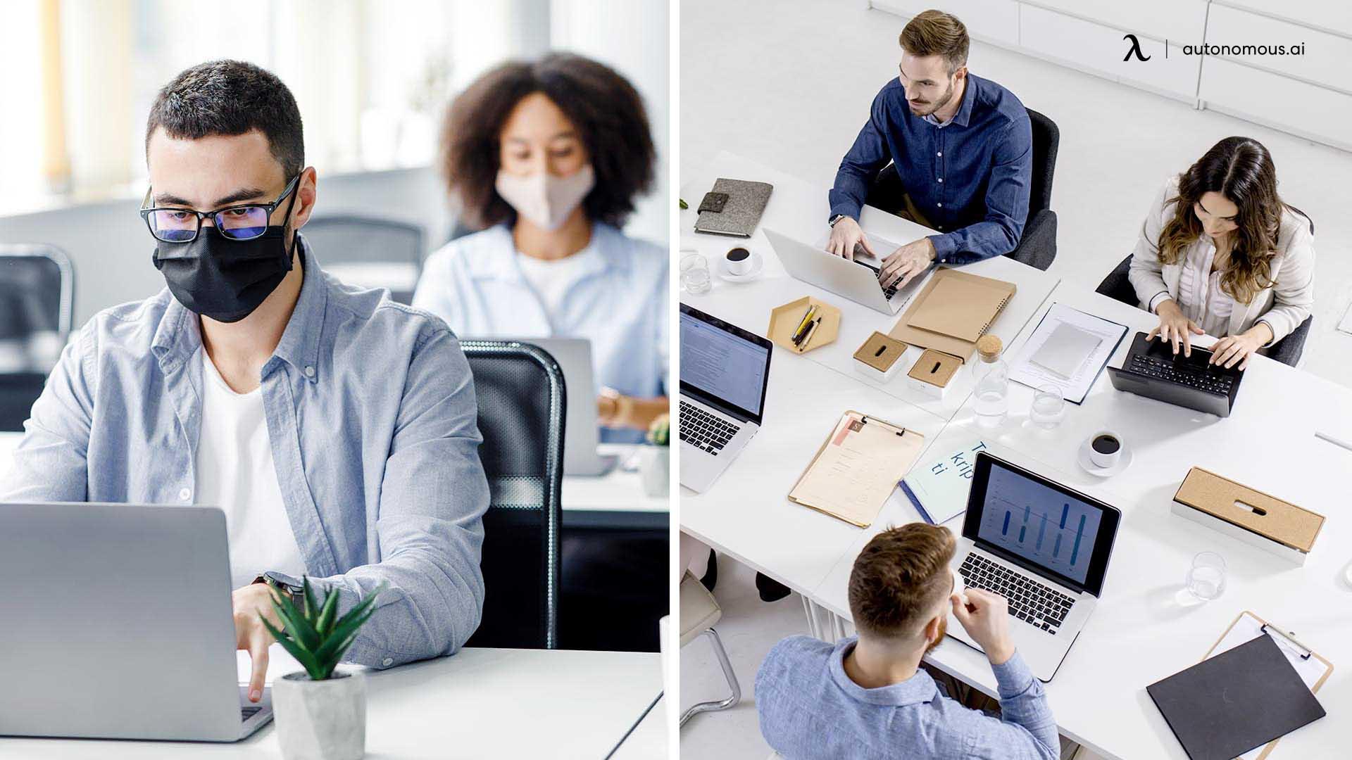 Social distancing vs workspace optimisation