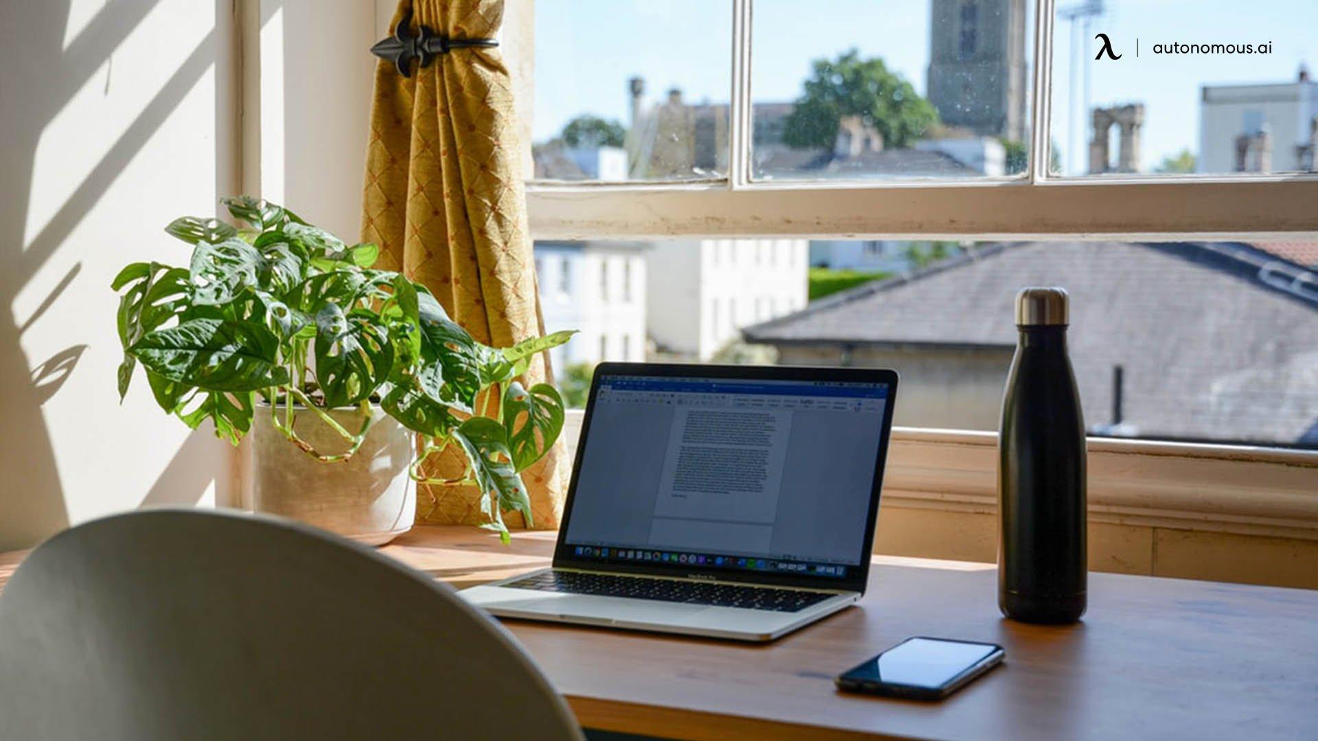 Desk facing outside