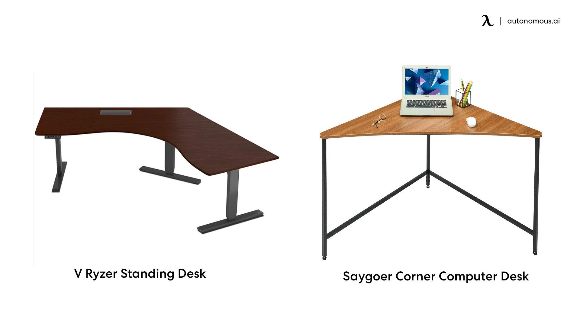 V-shaped or triangular corner office desk