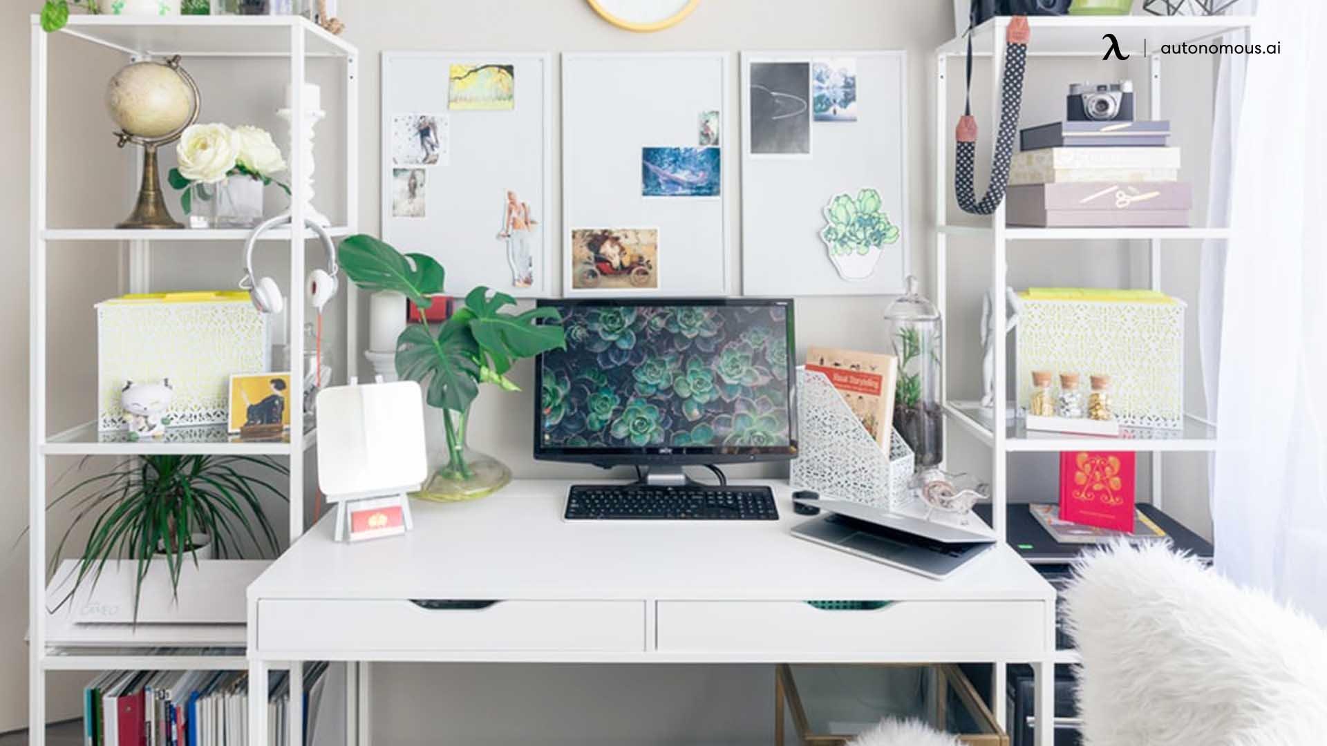 All-Green Wood Desk Setup
