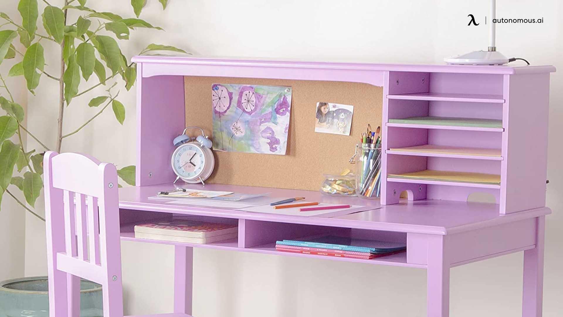 Lavender Study Desk with Storage