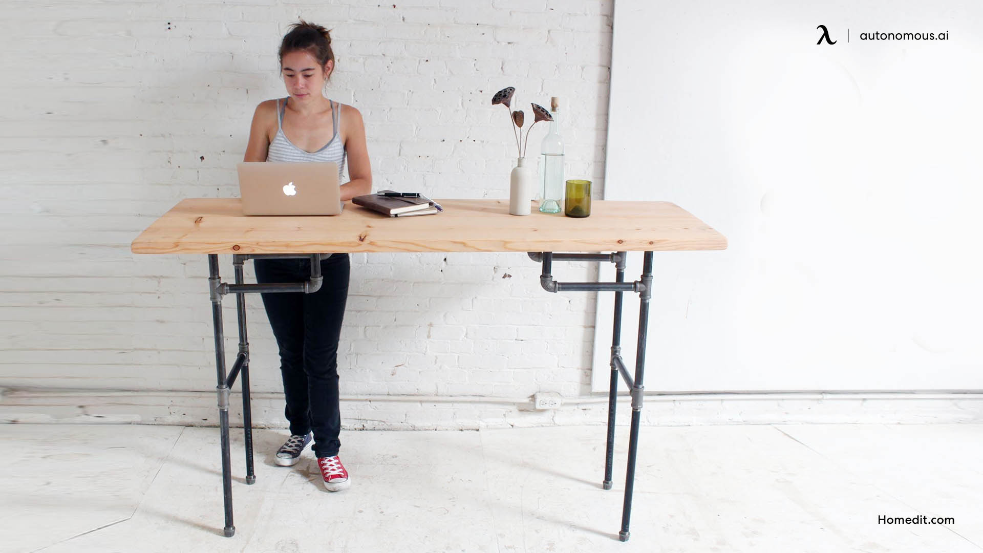Black pipe standing desk