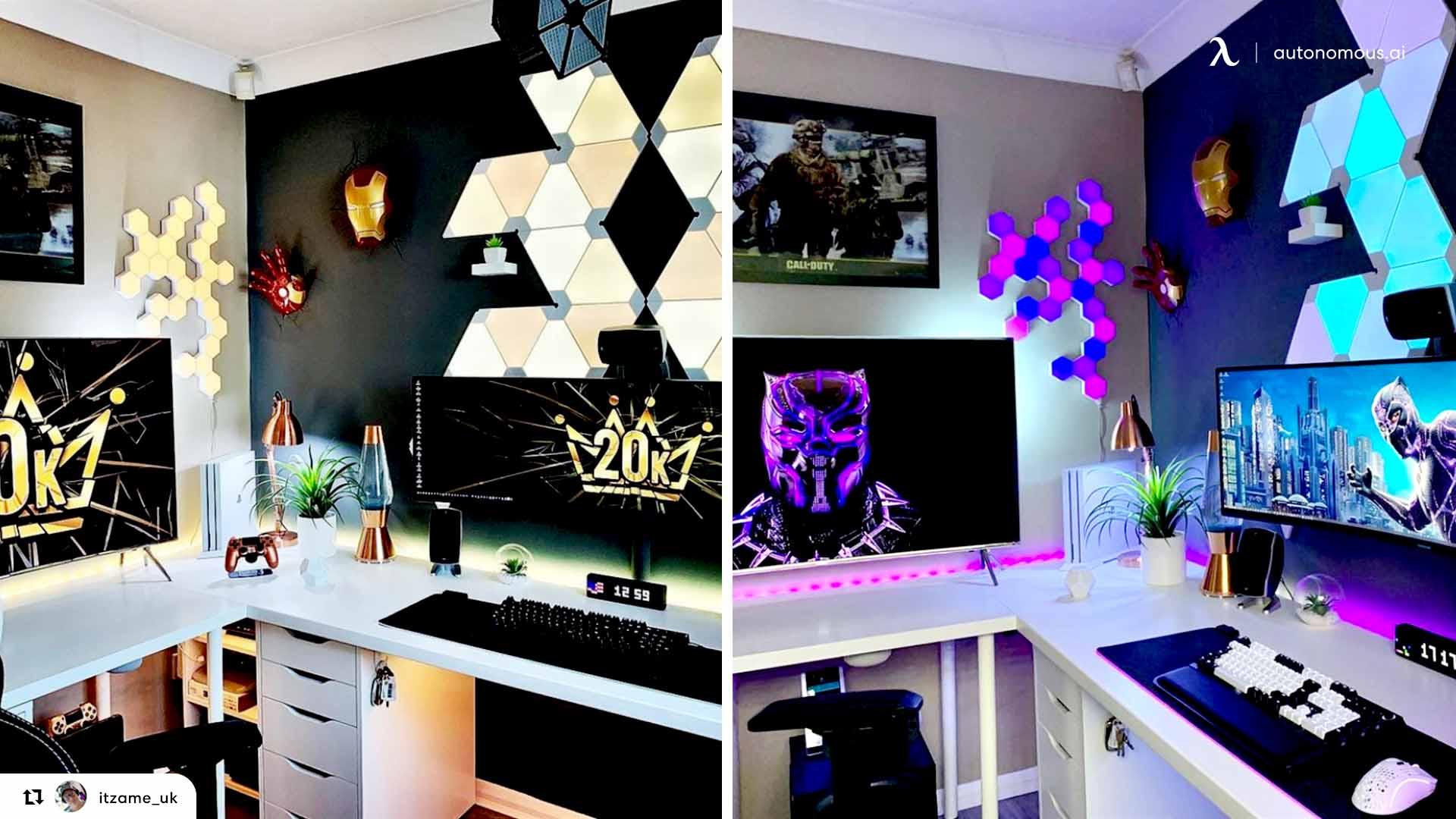 L-shaped gaming desk