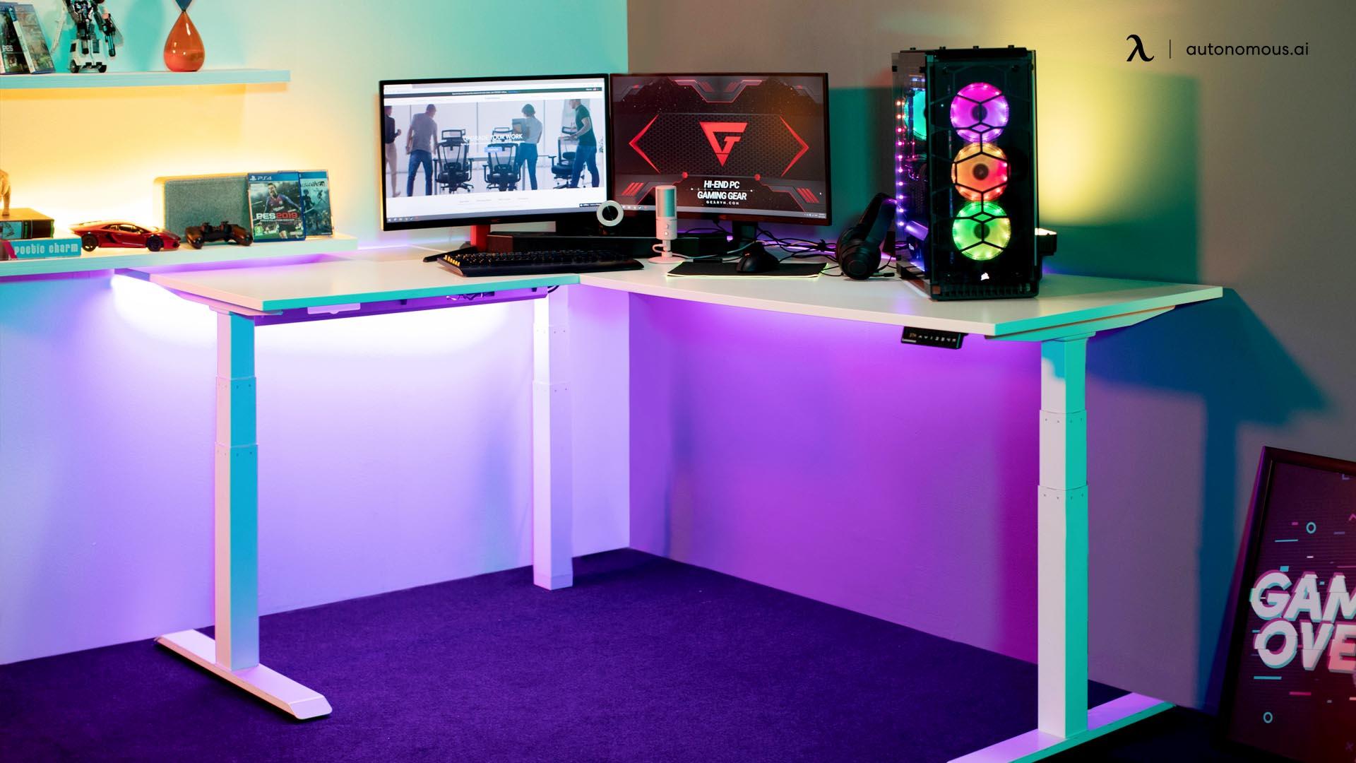 Corner adjustable desk