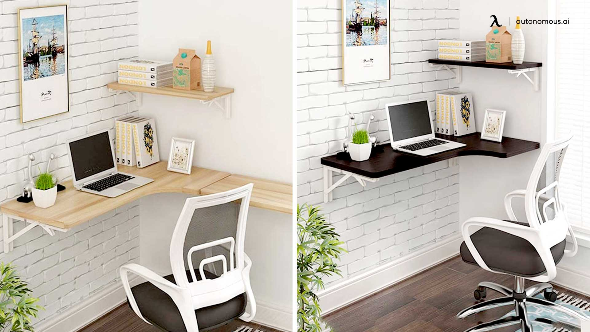 Wall Mounted L-Shaped Desk