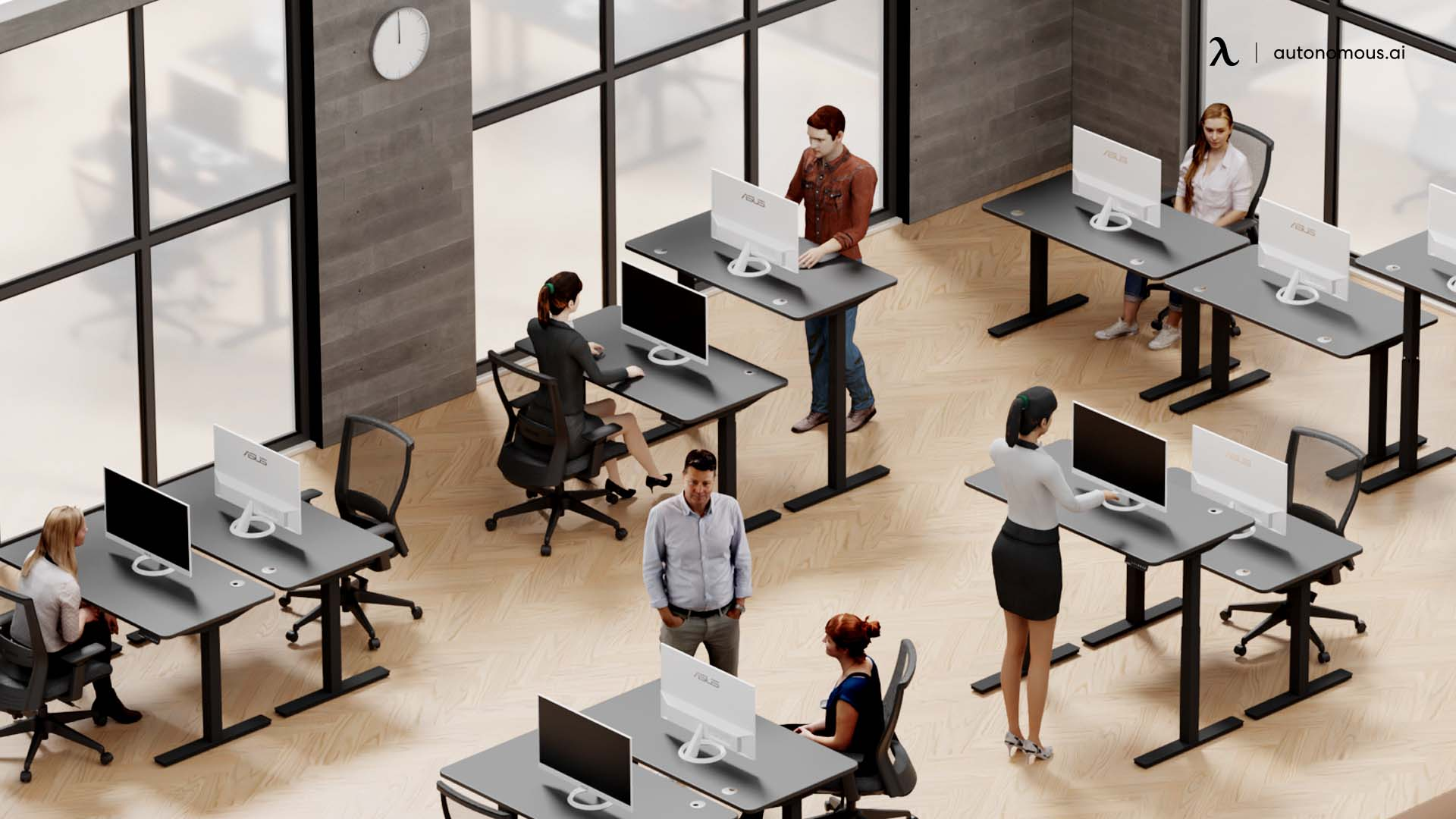 All employees work from a central office.