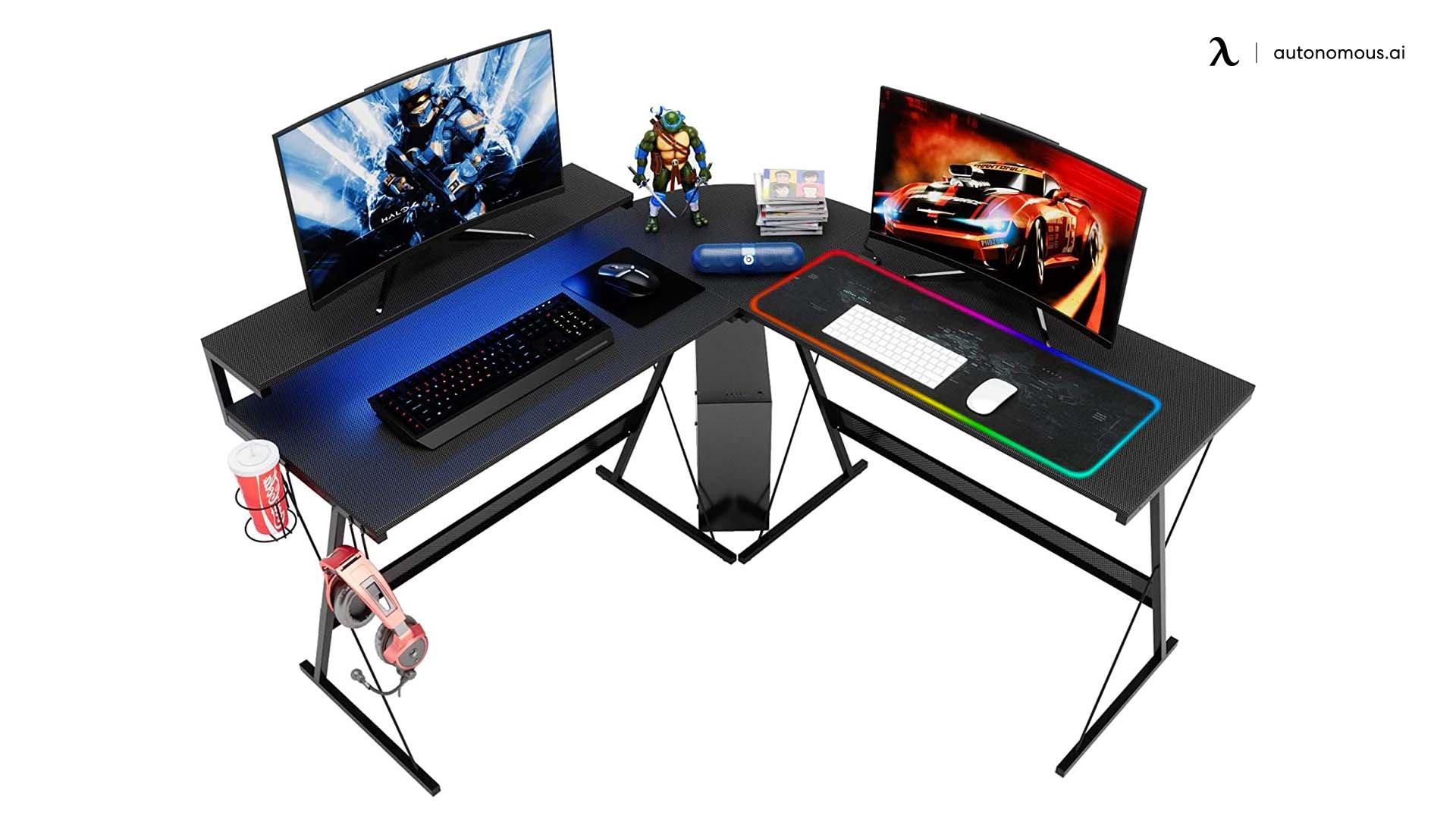 Bestier LED L-Shaped Gaming Desk
