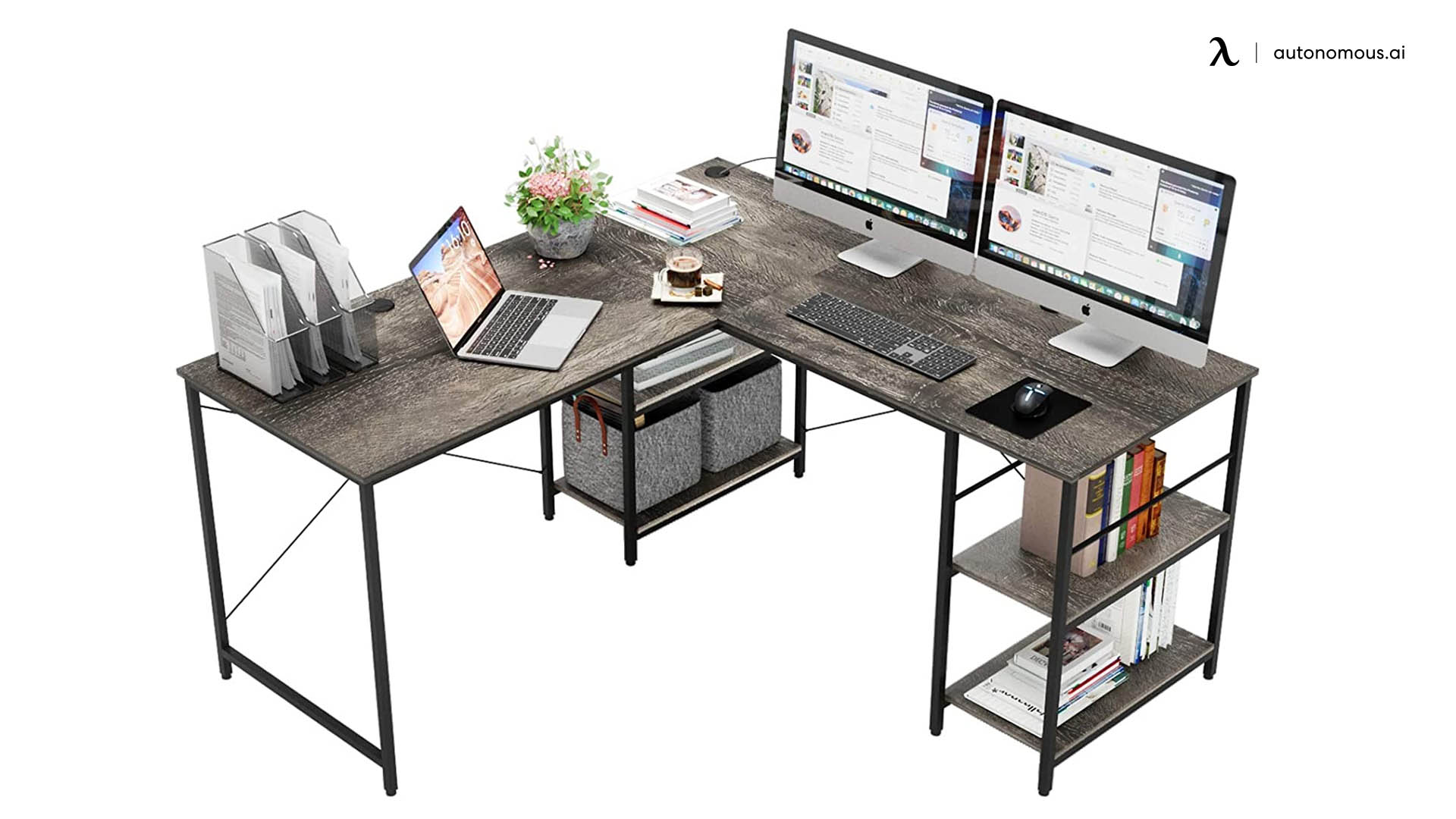 95.5-inch L-shaped computer desk from Bestier