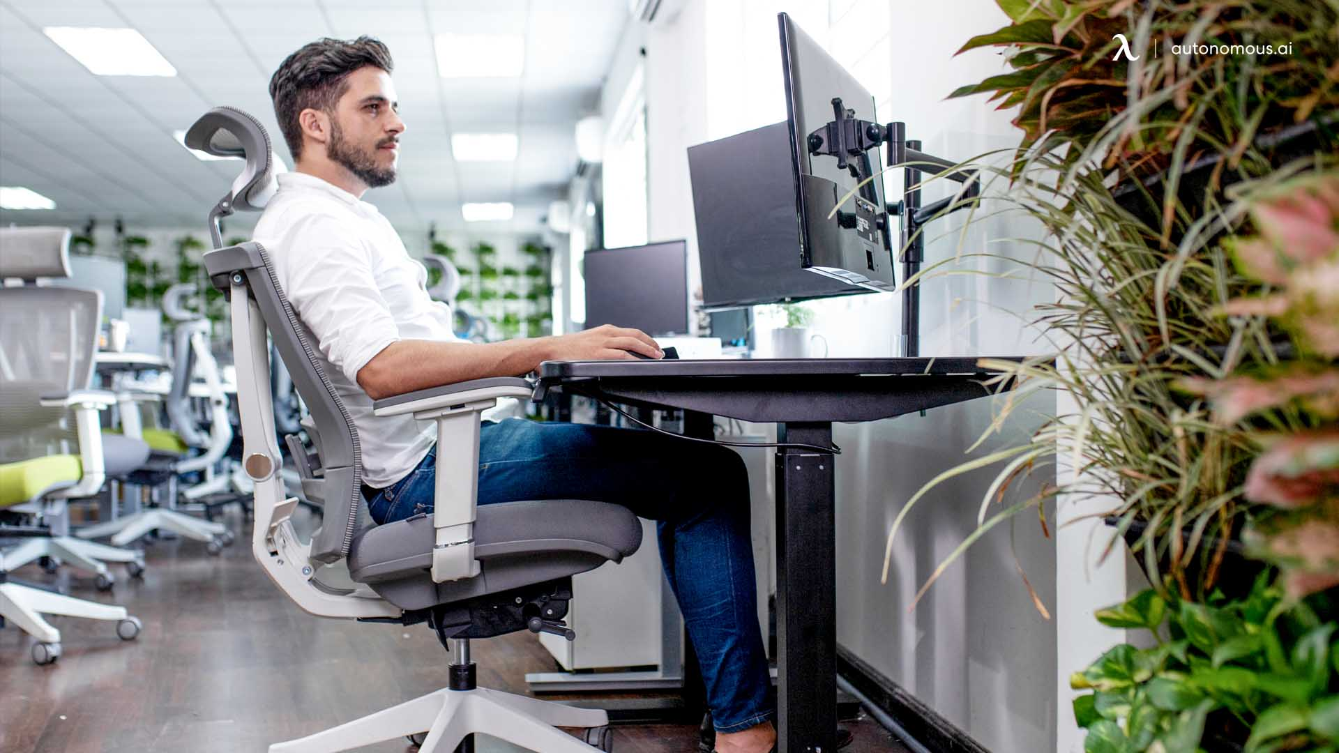 Learning how to sit properly at a desk