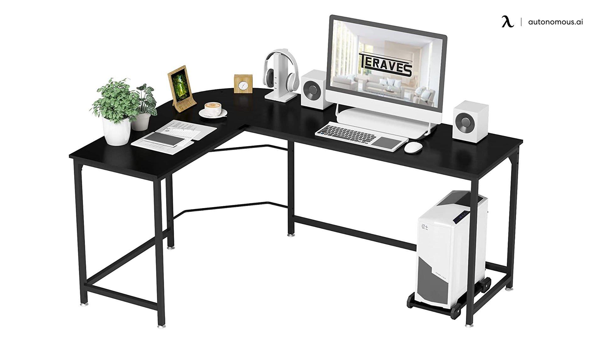 Teraves Reversible Black Corner Desk