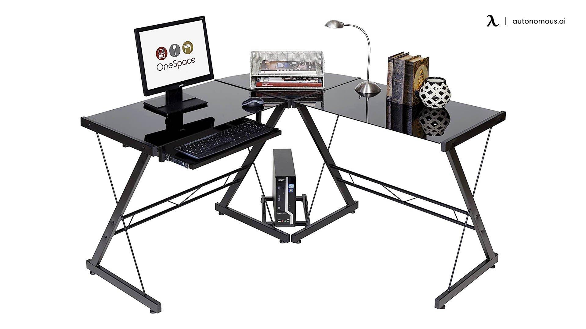 OneSpace Ultramodern Black L-shaped Desk