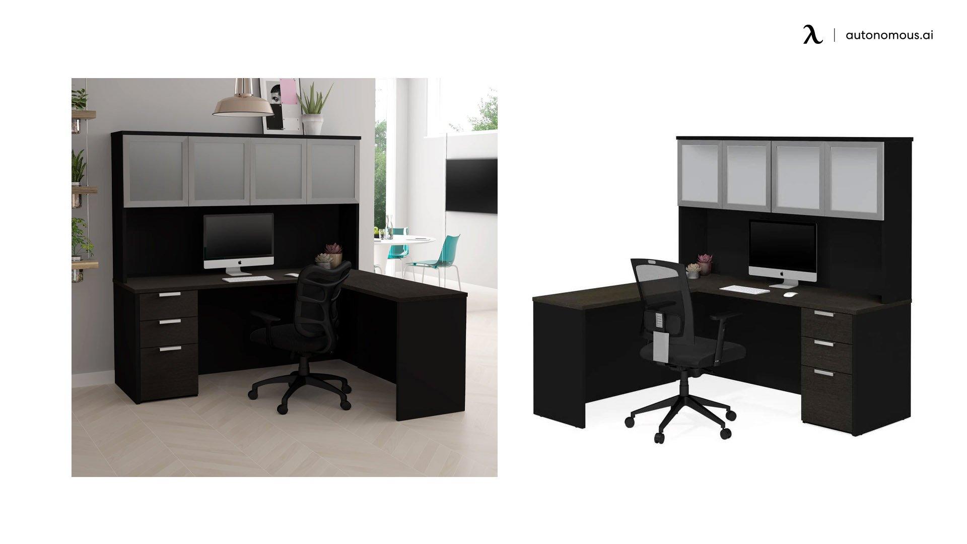 Hutch L-shaped Black Contemporary Desk