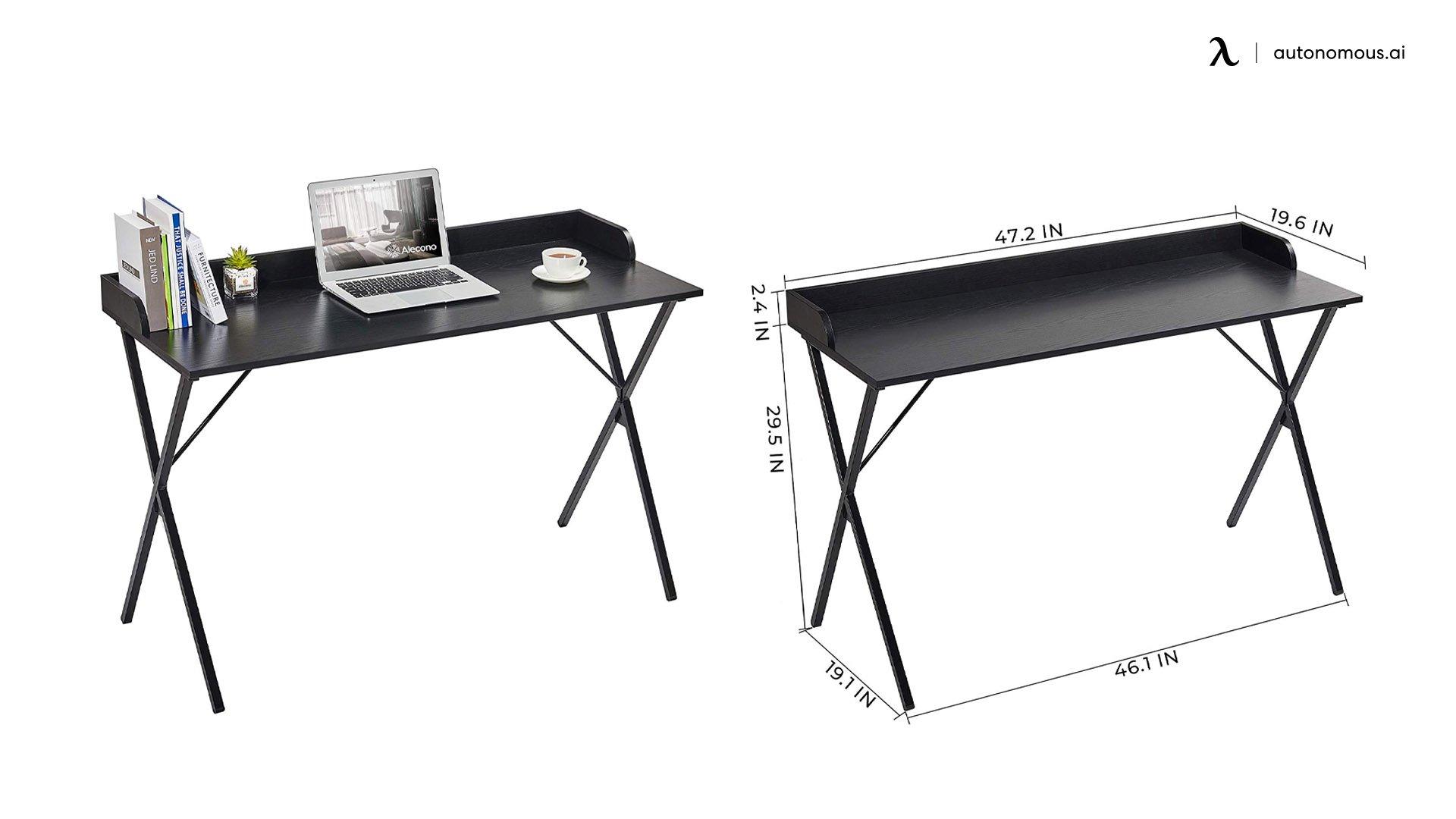 Alecono Black Modern Computer Desk with Raised Edge