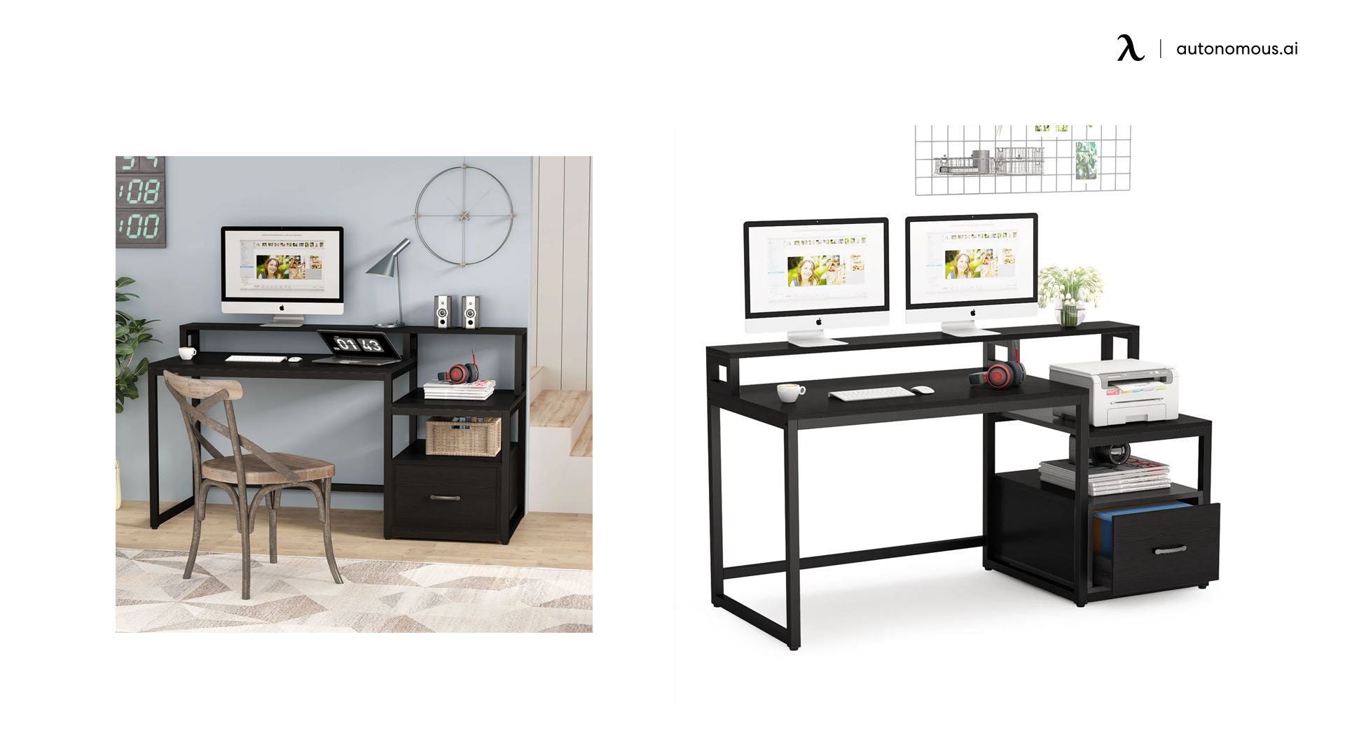 Tribesigns Filing Drawer Black Contemporary Desk