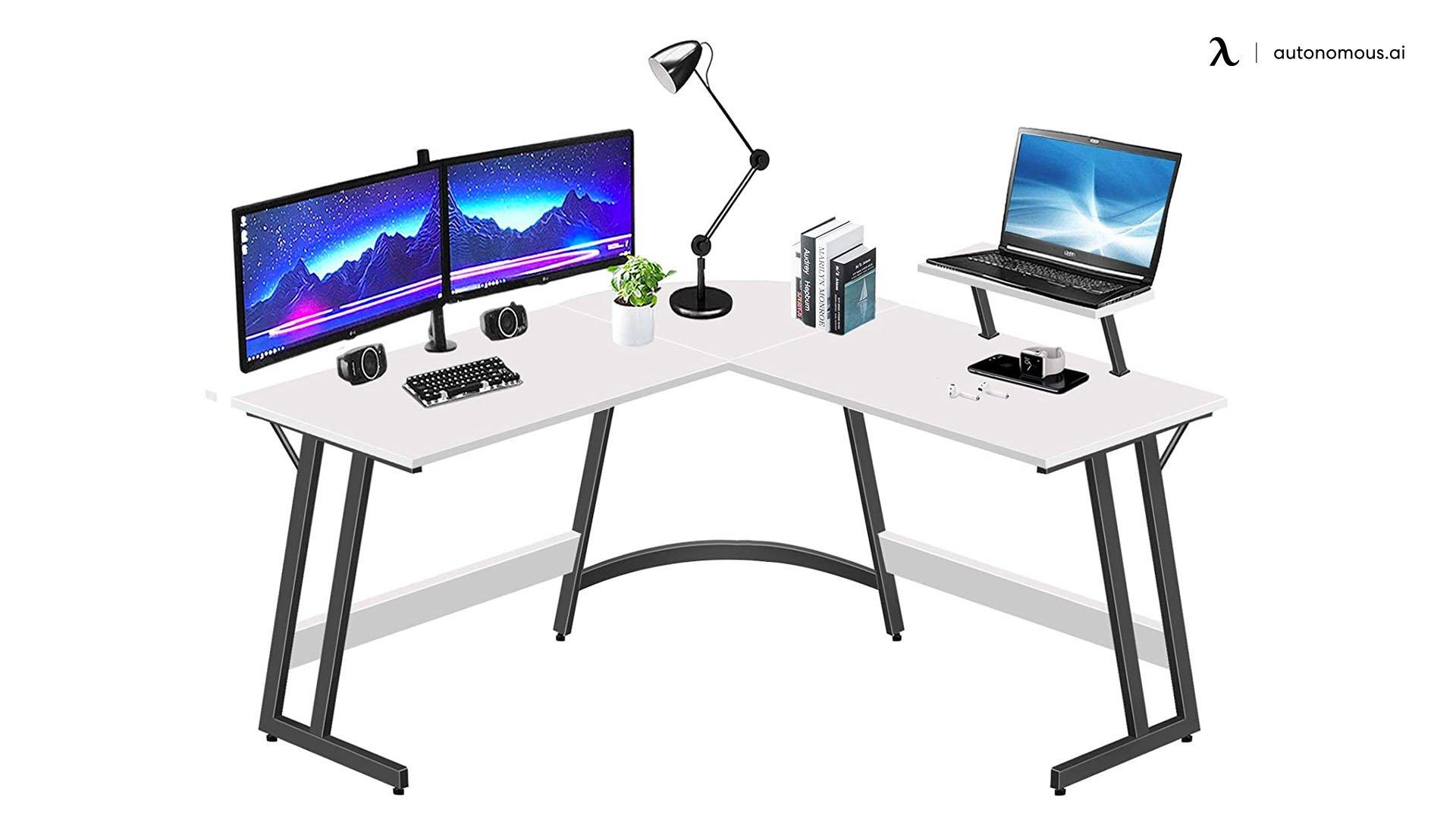 LUFEIYA L-shaped White Desk for Gaming