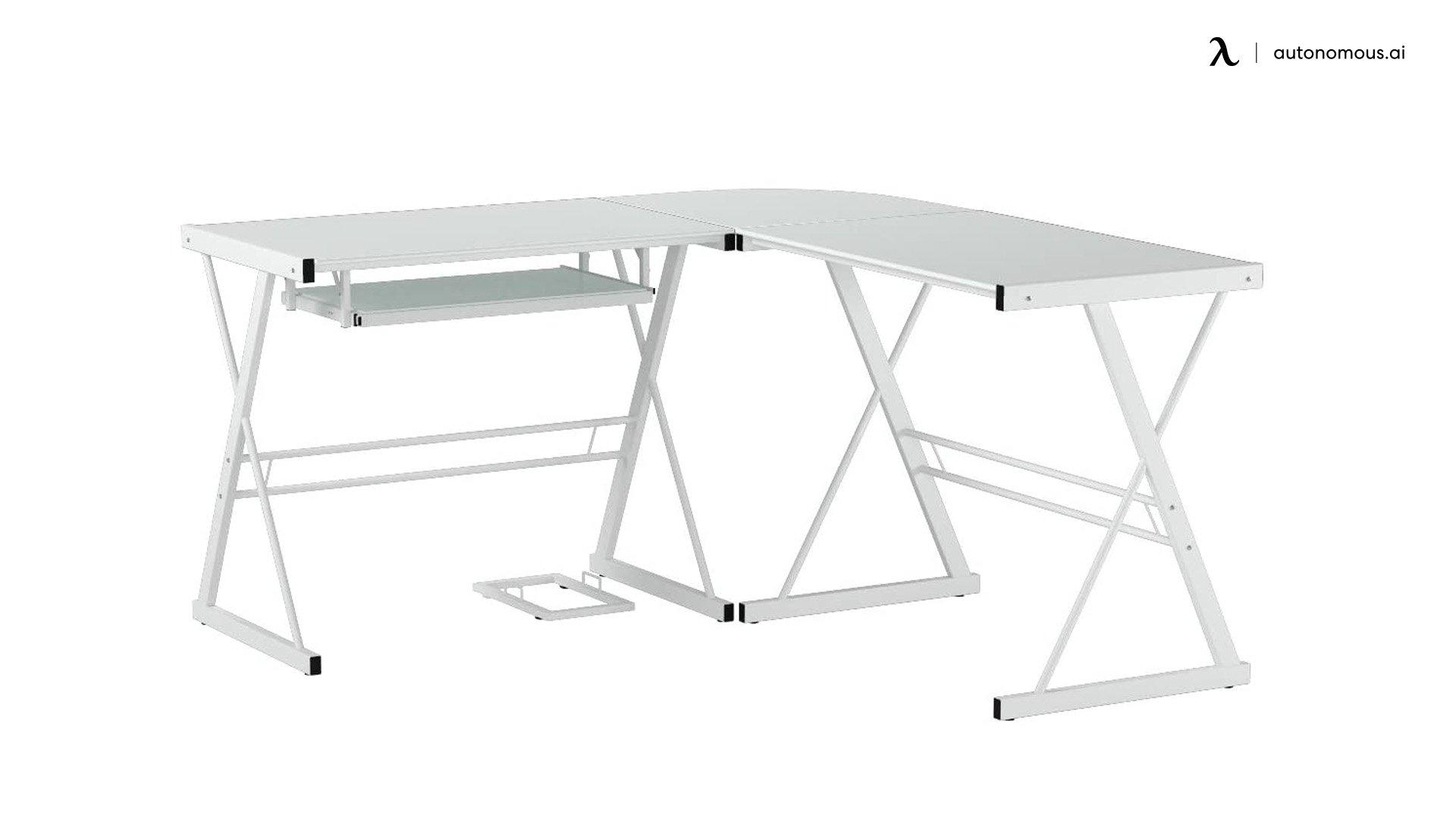 Walker Edison L-shaped White Desk for Gaming